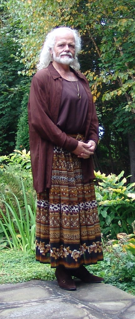 On patio in summer brown ensemble