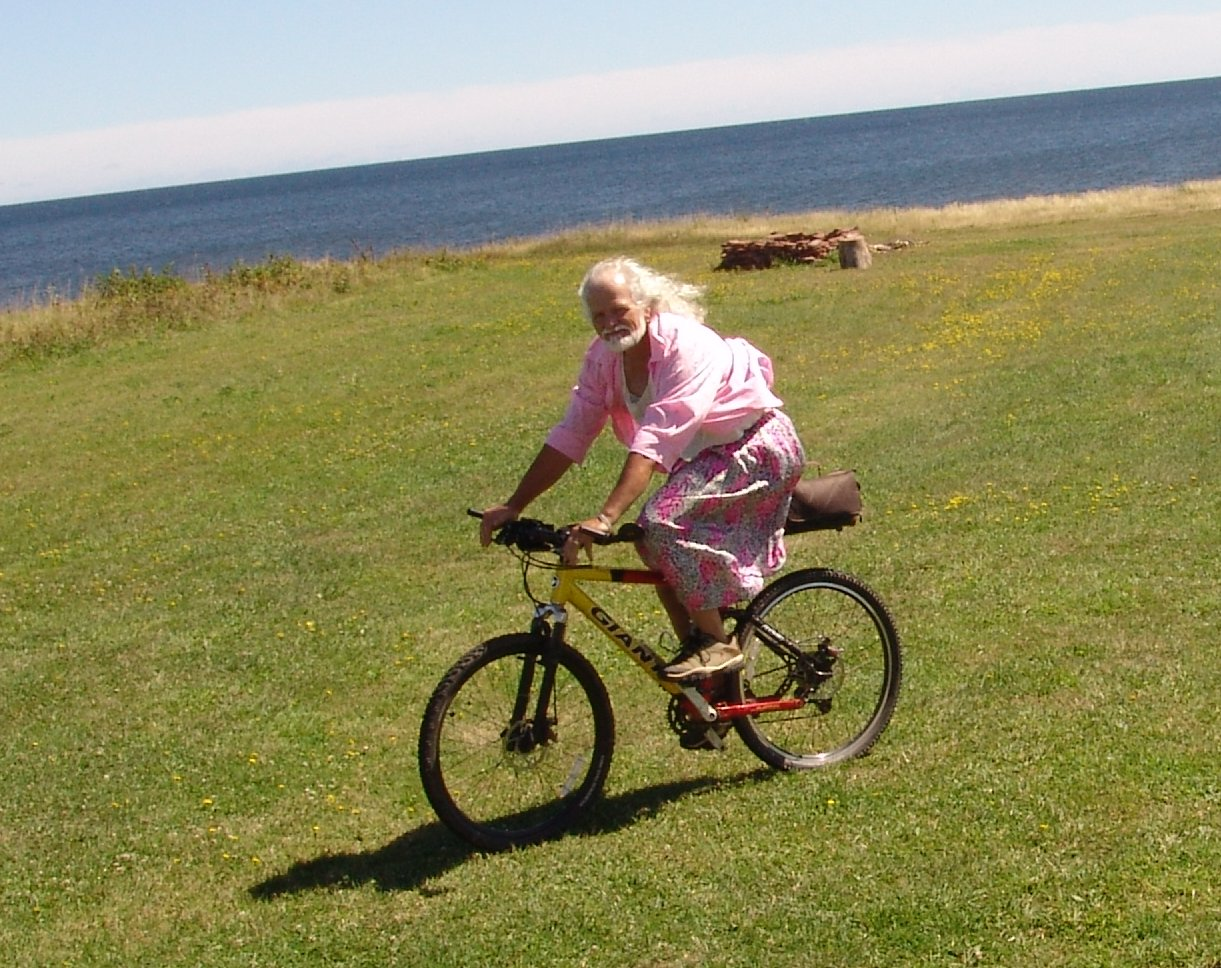 On bicycle at Mossers' Cottage near Tignish, PEI