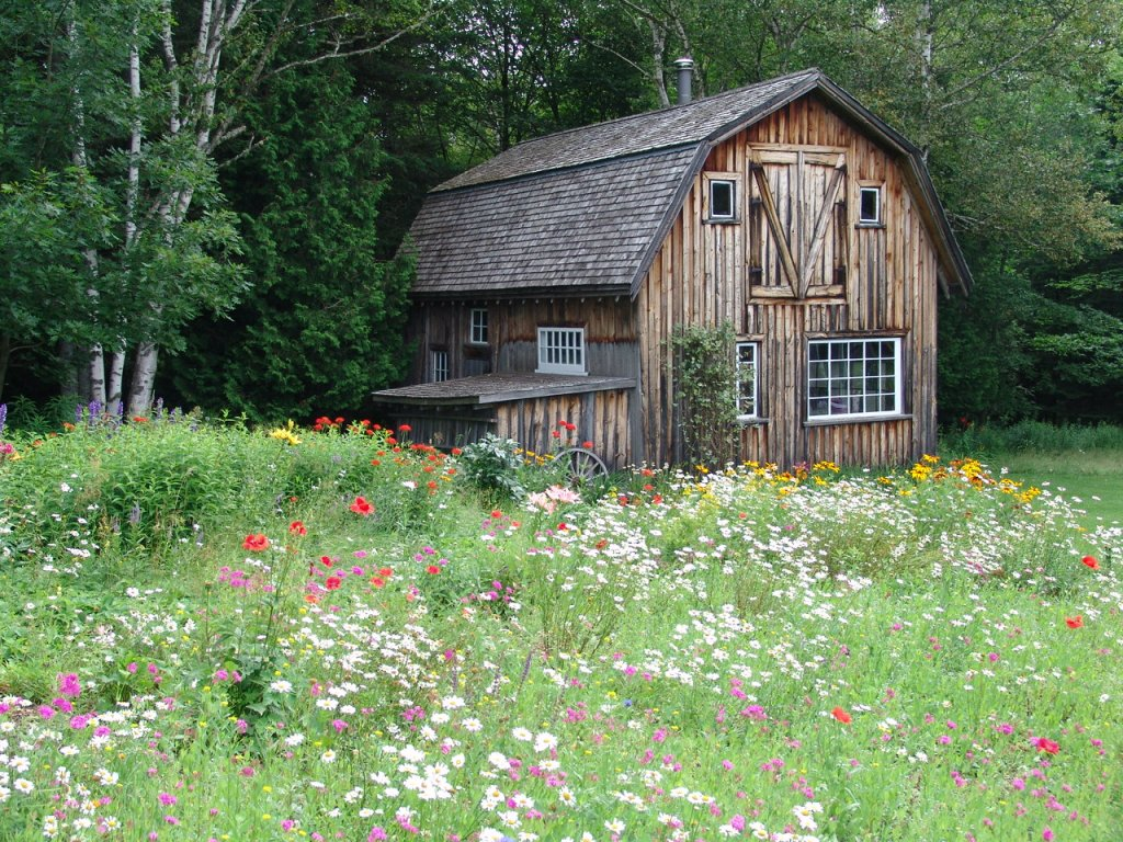 Barn and Flower bed